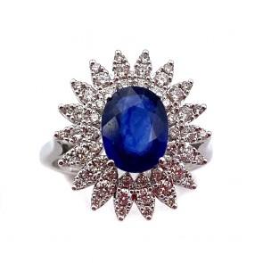 Anello margherita oro, zaffiro e diamanti