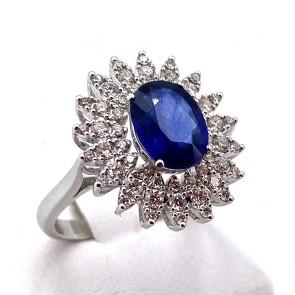 Anello margherita oro, zaffiro - 2.8 ct - e diamanti - 0.98 ct ; 5.78 gr
