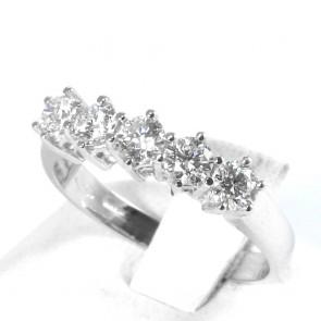 Anello riviera oro e 5 diamanti -0,84 ct; 3,35 gr
