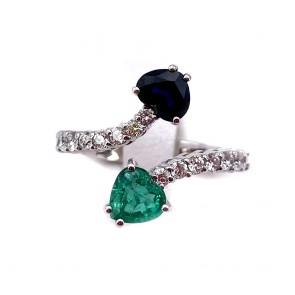 Anello contrariè cuori oro, cuore smeraldo