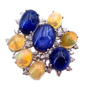 Anello maxi composizione oro, zaffiri, opali  e diamanti