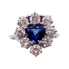 Anello maxi cuore oro, zaffiro  e diamanti