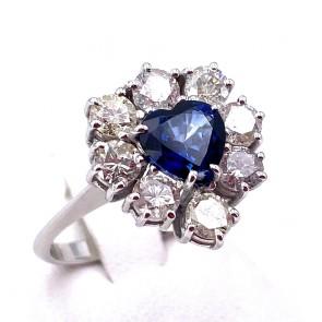 Anello maxi cuore oro, zaffiro - 1.45 ct - e diamanti - 1.84 ct ; 5.10 gr