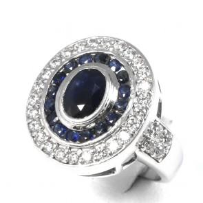 Anello margherita ovale argento, radici di rubino -3-3,50 ct e zirconi - 9,4 gr