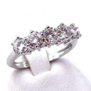 Anello riviera oro e 5 diamanti -1.35-1.42 ct; 3.05 gr