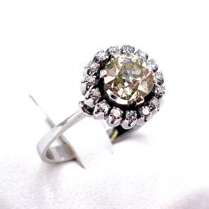 Anello solitario taglio antico in stile oro e diamanti - 1.10-1.30 ct+ 0.30-0.35 ct; 4.15 gr