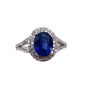 Anello margherita zaffiro e diamanti