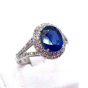 Anello margherita zaffiro - 3.00-3.10 ct - e diamanti - 0.90-0.95 ct; 5.22 gr