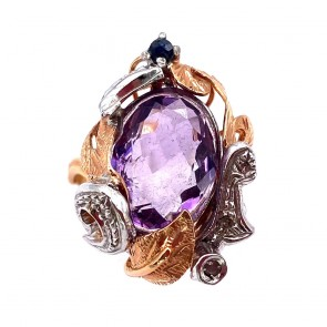 Anello in stile, oro, argento,  ametista idrotermale e mini diamant