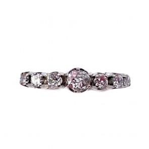 Anello riviera oro, montatura in stile e 7 diamanti taglio antico