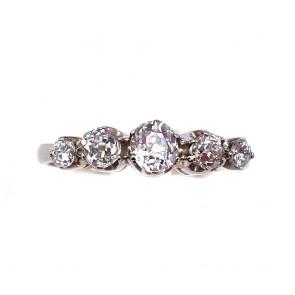 Anello riviera oro, montatura in stile e 5 diamanti taglio antico