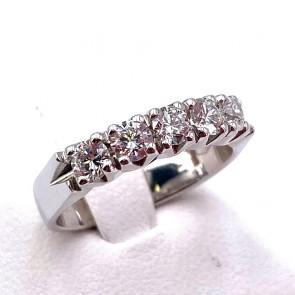 Anello riviera oro e 5 diamanti -0.76 ct; 4.56 gr