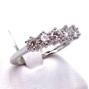 Anello riviera oro e 5 diamanti -0.72 ct; 2.67 gr