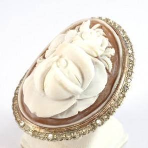 Anello maxi oro rigido con cammeo e diamanti -0,40 ct- 26 gr