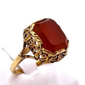 Anello antico inciso a mano oro e corniola; 3.37 gr