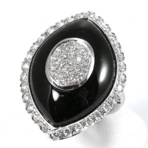 Anello maxi spola oro, onice e diamanti - 0,95 ct; 11,5 gr.