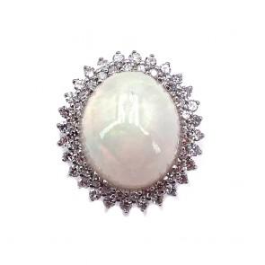 Anello, margherita oro, opale e diamanti