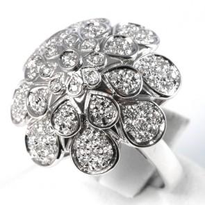 Anello maxi fiore oro con diamanti - 0,83 ct; 11,5 gr