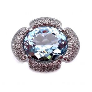 Anello maxi oro, ovale acquamarina e diamanti