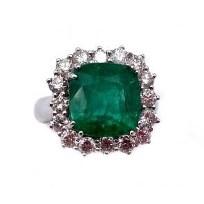 Anello maxi margherita squadrata oro, smeraldo
