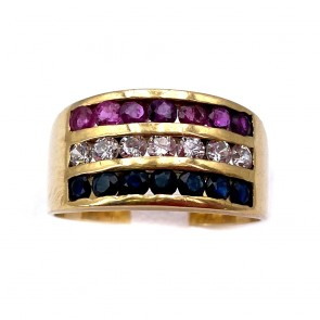 Anello maxi fascia unisex oro, zaffiri, rubini
