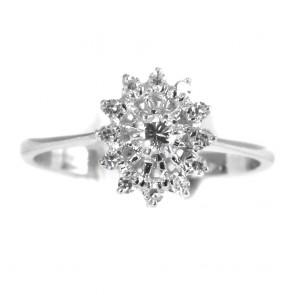Anello margherita ovale, oro e diamanti