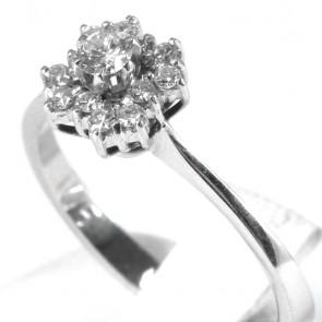 Anello margherita effetto quadrifoglio, oro e diamanti - 0,28-0,34 ct; 2,7 gr