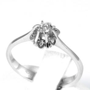 Anello solitario, montatura fiore, oro e diamante - 0,08-0,10 ct; 2,5 gr