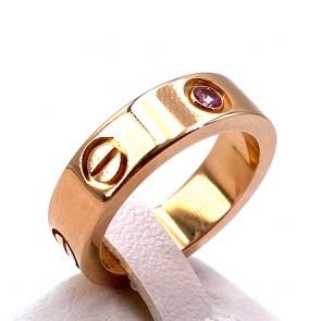 Anello fede CARTIER, modello LOVE, oro e zaffiro rosa - 9.64 gr