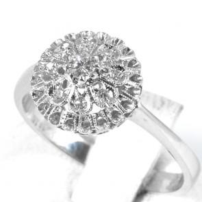 Anello fiore-palloncino circolare, oro e diamanti - 0,11-0,13 ct; 3,59 gr