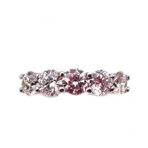 Anello riviera oro e 5 diamanti