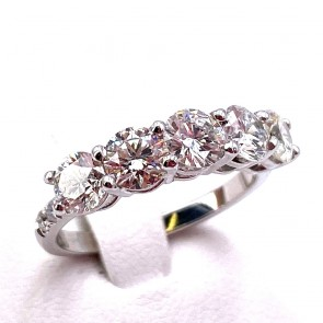 Anello riviera oro e 5 diamanti - 2.15 ct + 0.10 ct; 3.68 gr