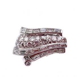 Anello vintage drappo in stile, platino e diamanti