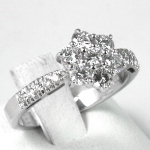 Anello oro fiore  circolare e fronte riviera con diamanti - 0,98 ct; 4,3 gr