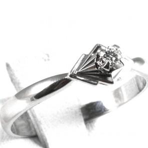 Anello solitario, oro e diamante - 0,05-0,06 ct; 2,65 gr