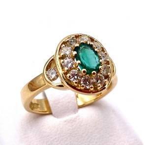 Anello margherita oro,  smeraldo - 0.40-0.45 ct - e diamanti - 0.40-0.45 ct; 6.76 gr