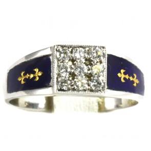 Anello fascia, oro, rettangolo diamanti -
