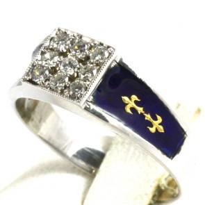 Anello fascia, oro, rettangolo diamanti - 0,18-0,20 ct - e smalti blu; 3 gr