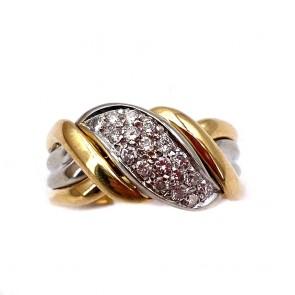 Anello fascia, oro bicolore e diamanti