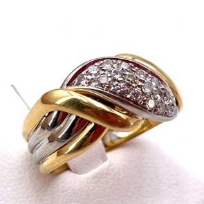 Anello fascia, oro bicolore e diamanti - 0.25-0.30 ct-  6.21 gr