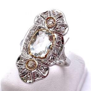 Anello toppa in stile, acquamarina  -1.95-2.00 ct- e diamanti - 0.95-1.00 ct; 4.63 gr