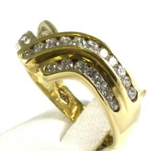 Anello fascia incrociata oro giallo e zirconi - 5,51 gr
