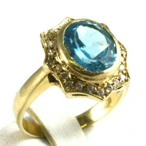 Anello maxi oro giallo, quarzo idro azzurro e zirconi - 5,44 gr