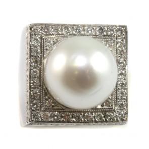 Anello maxi oro, quadro, perla australiana bianca
