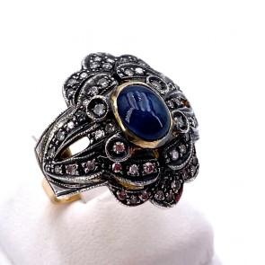 Anello maxi toppa fiore in stile, zaffiro -1.70-1.80 ct- e diamanti - 0.95-1.00 ct; 10 gr