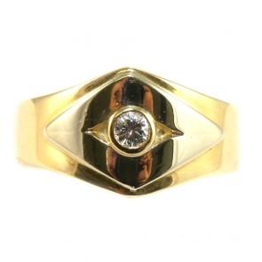 Anello fascia geometrica, oro, con diamantino