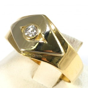 Anello fascia geometrica, oro, con diamantino -0,08-0,10 ct; 5,6 gr