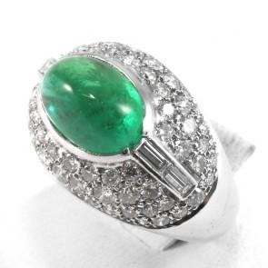 Anello maxi fascia bombata oro diamanti - 2,20-2,40 ct - e smeraldo  cabochon- 3,60-4,00 ct; 10 gr