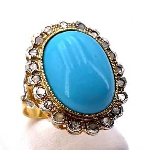 Anello maxi margherita pasta di turchese, oro, argento e diamanti - 0.40 ct; 8.24 gr