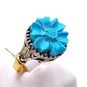 Anello maxi fiore pasta di turchese, oro e argento; 4.77 gr